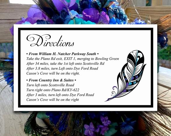 Wedding Direction Cards Template Luxury Diy Wedding Directions Card Template Peacock Wedding