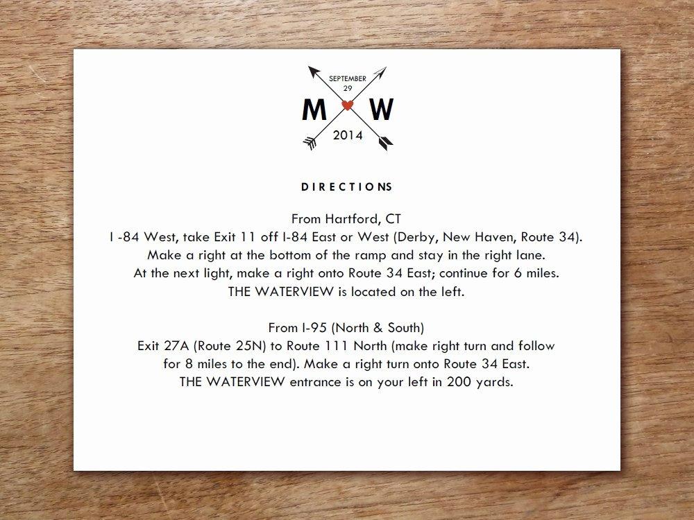 Wedding Direction Cards Template Luxury Printable Wedding Information Card Monogram Arrow Hearts