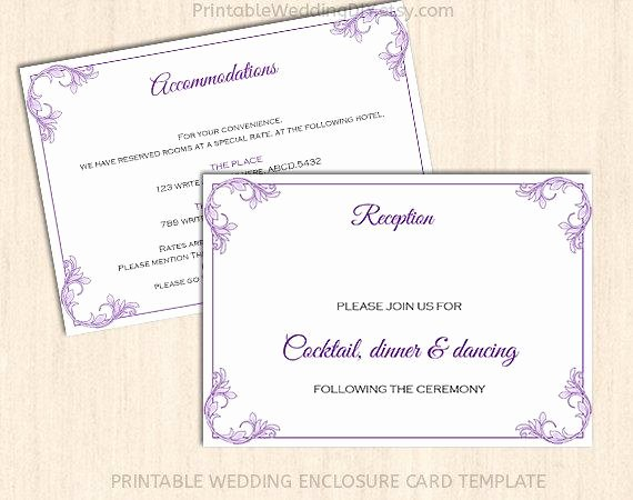 Wedding Direction Cards Template Unique Printable Wedding Enclosure Card Template Wedding Insert