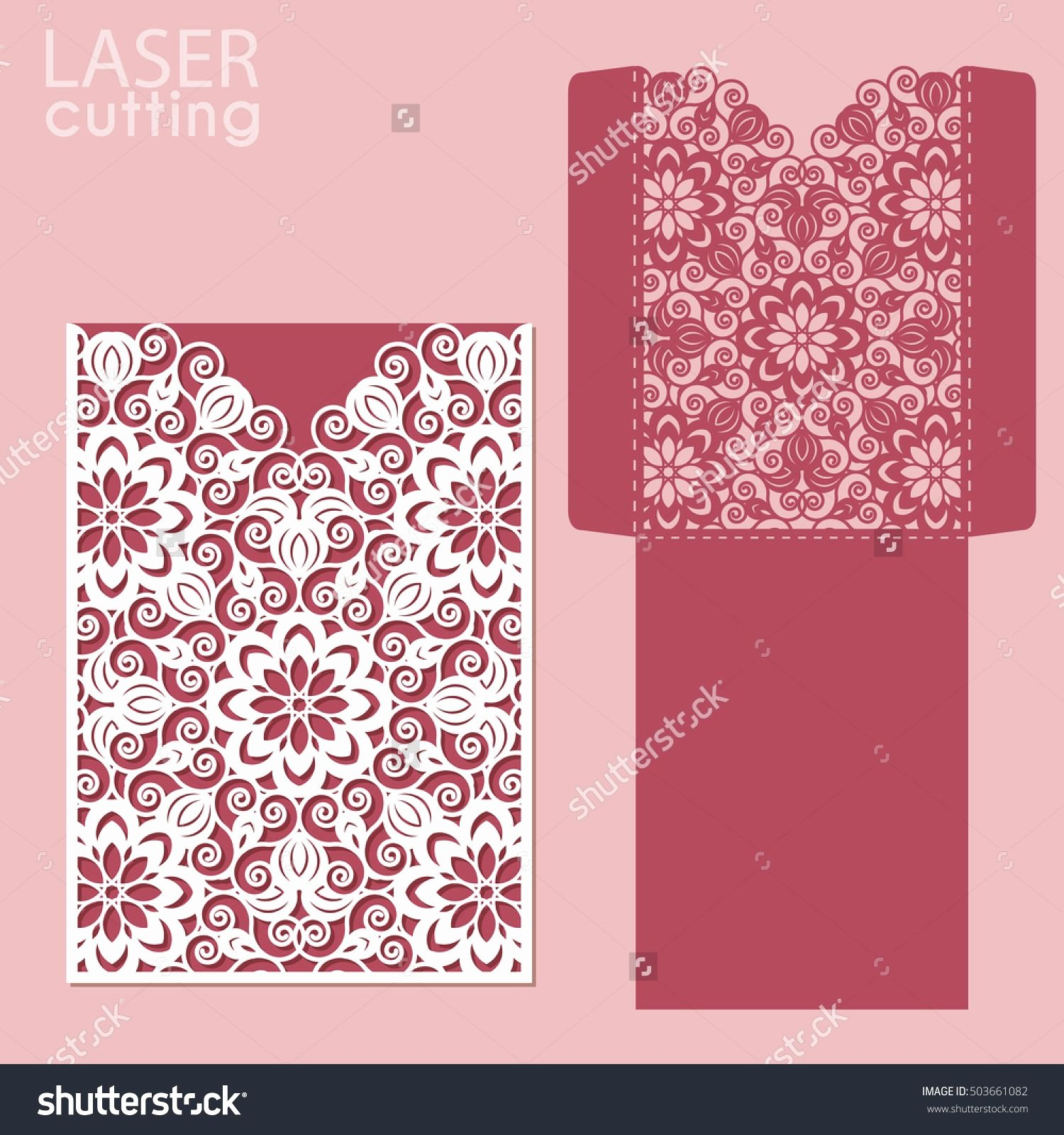 Wedding Envelope Printing Template Awesome Die Laser Cut Wedding Card Vector Template Invitation