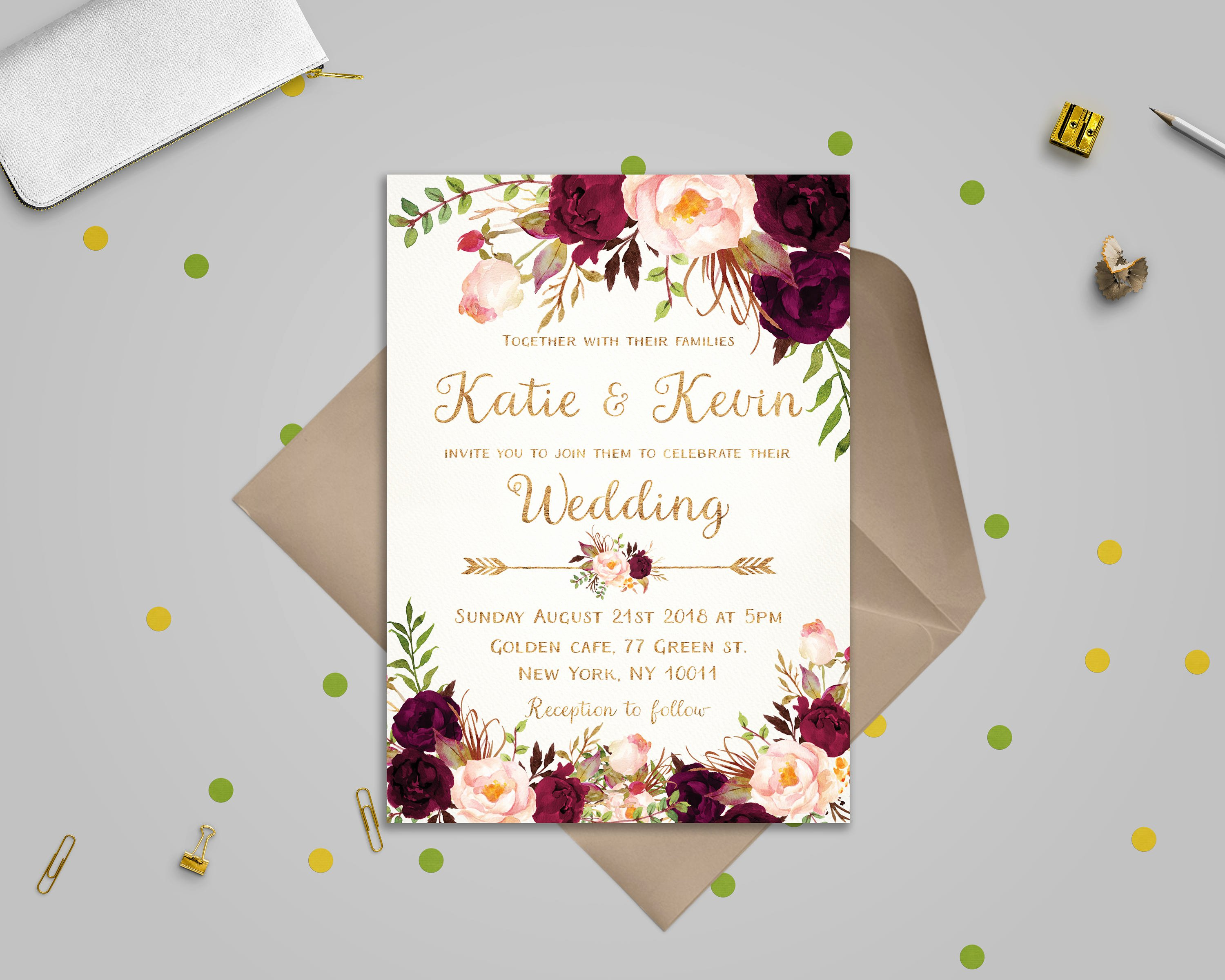 Wedding Envelope Printing Template Awesome Floral Wedding Invitation Template Wedding Invitation