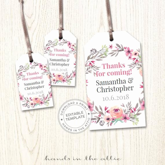 Wedding Favor Labels Template Elegant Mini Wedding Tags Personalized Hang Tags Wedding Favor