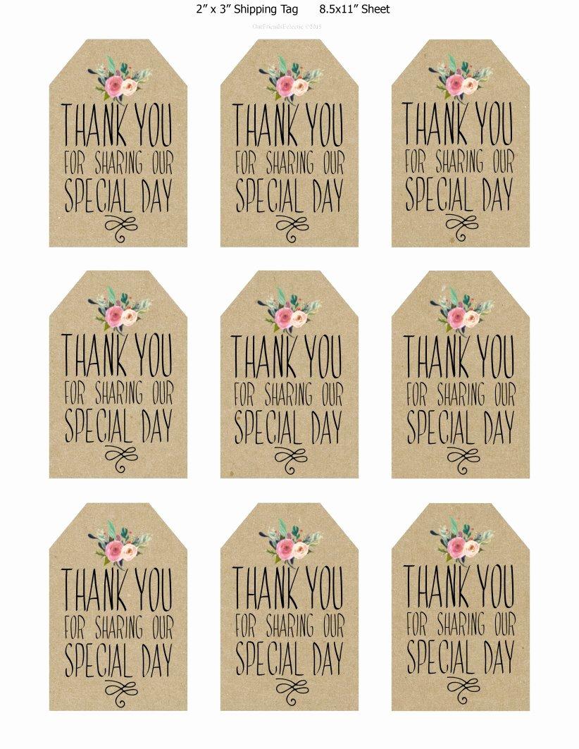 Wedding Favor Labels Template Unique Printable Wedding Favor Tags Thank You Printable Tags