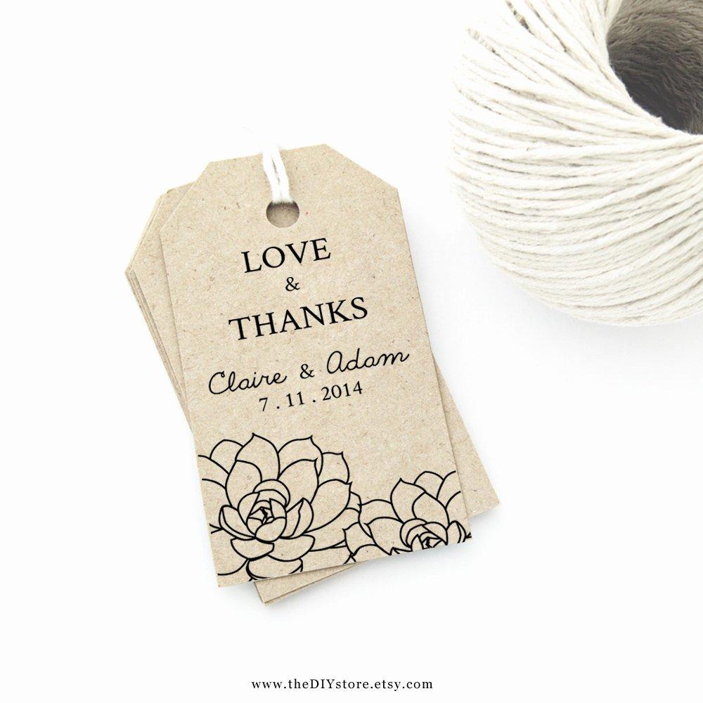 succulent wedding favor tag printable