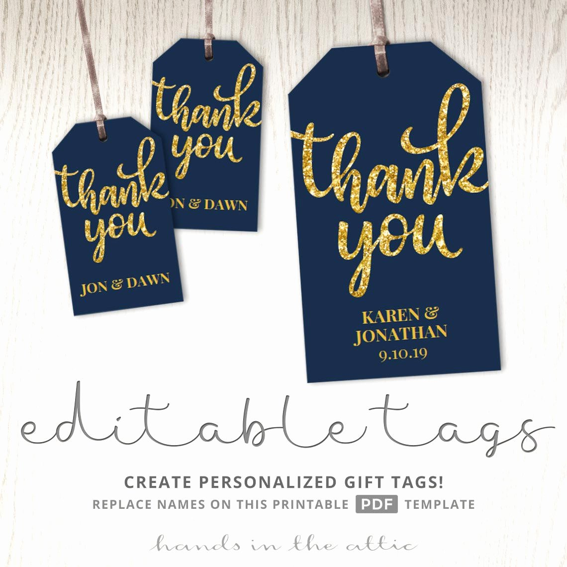 Wedding Favor Tag Template Fresh Thank You Tags T Labels Navy and Gold Wedding Favor