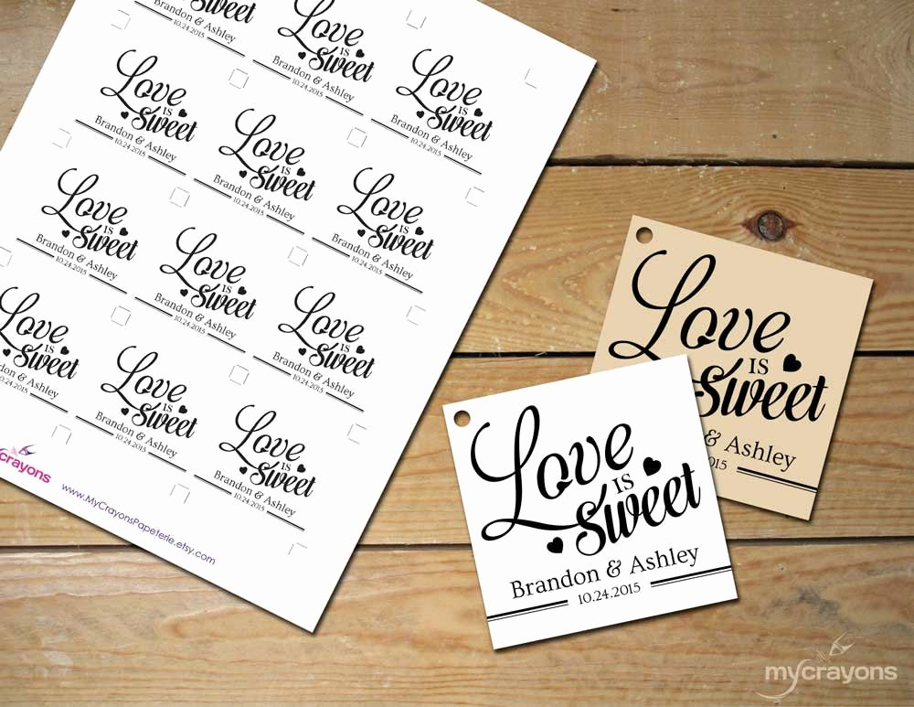 Wedding Favor Tags Template Inspirational Printable Love is Sweet Tags Diy Printable Wedding Favor