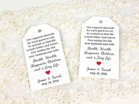 Wedding Favor Tags Template Unique Jordan Almonds Favor Tag Wedding Favor Tag Custom Tag