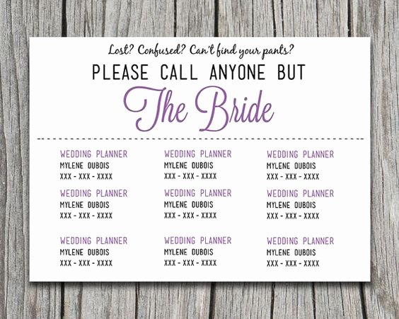 "Wedding Information Card Template Awesome Diy Wedding Information Card Template ""please Call Anyone"