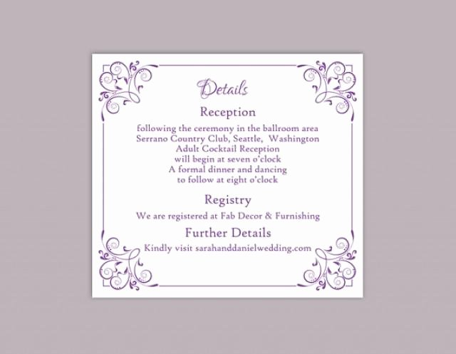 Wedding Information Card Template Best Of Diy Wedding Details Card Template Editable Text Word File