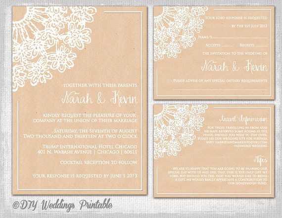 "Wedding Information Card Template Best Of Rustic Save the Date Templates ""lace Doily Kraft"" Save the"