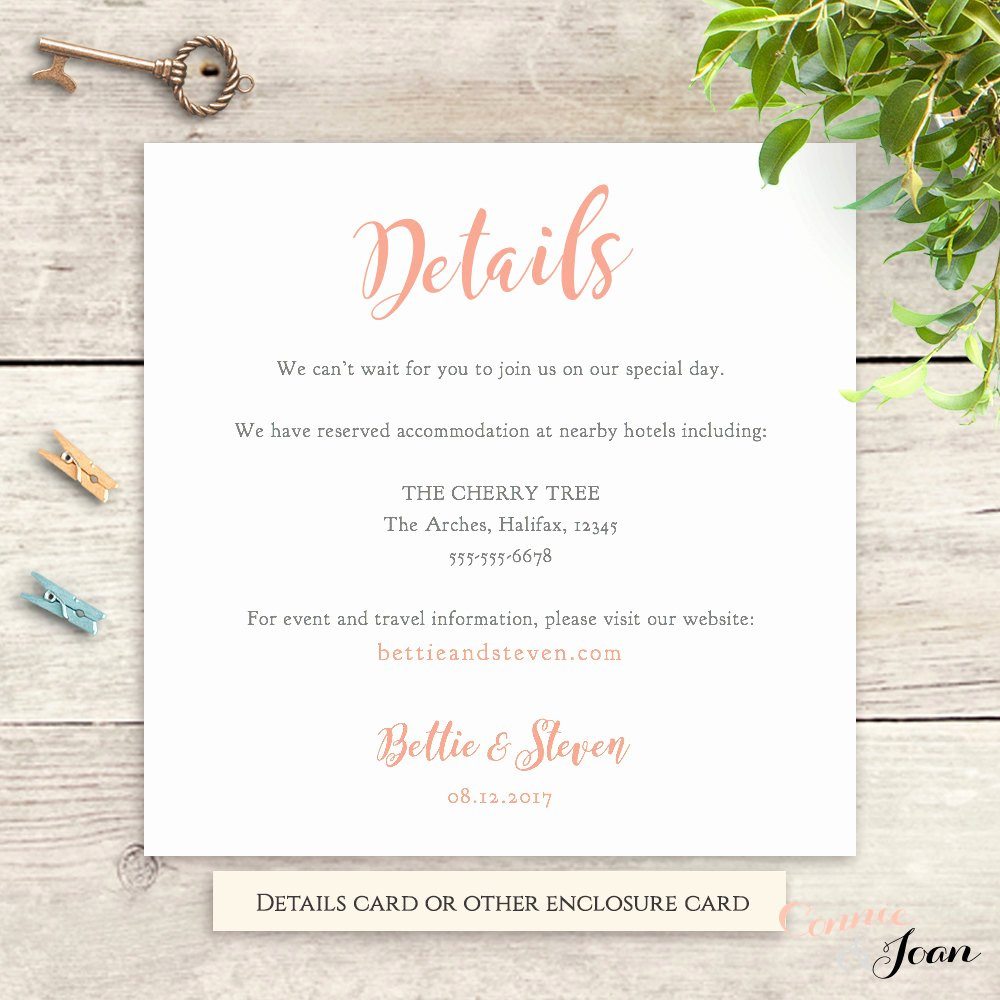 Wedding Information Card Template Best Of Wedding Details Information Card Template Printable
