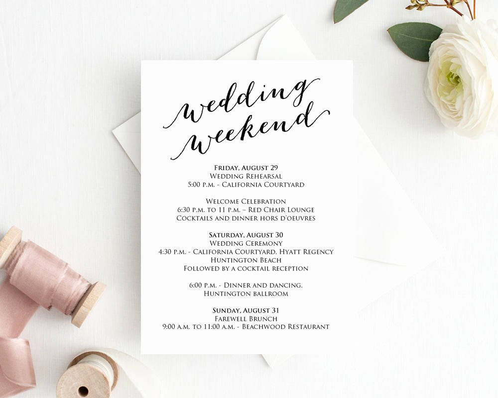 Wedding Information Card Template Elegant Wedding Weekend Itinerary Card · Wedding Templates and