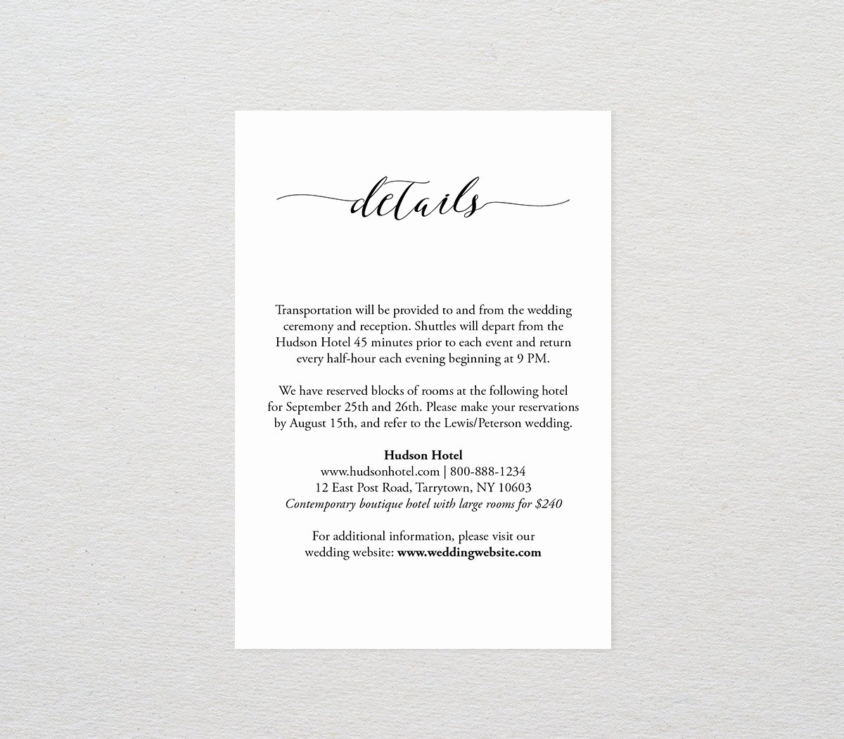 Wedding Information Card Template Fresh Details Card Template Printable Wedding Info Ac Modations