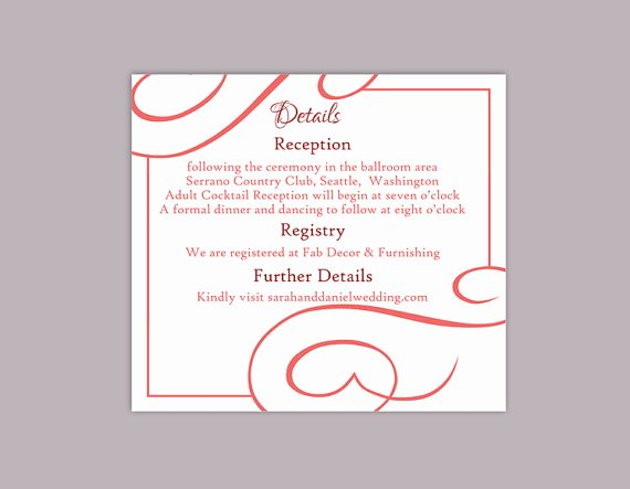 Wedding Information Card Template Fresh Diy Wedding Details Card Template Editable Text Word File