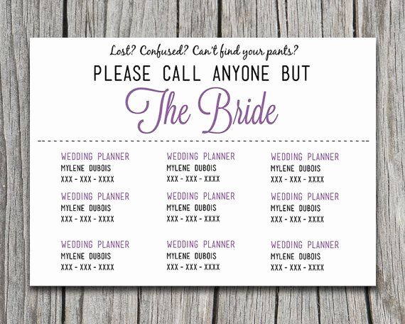 "Wedding Information Card Template Fresh Diy Wedding Information Card Template ""please Call Anyone"