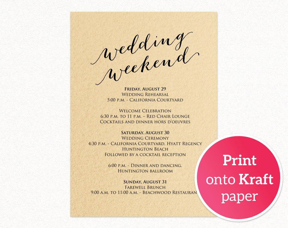Wedding Information Card Template Fresh Wedding Weekend Itinerary Card · Wedding Templates and