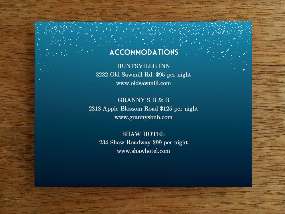 Wedding Information Card Template Lovely Printable Wedding Invitation Set Starry Night