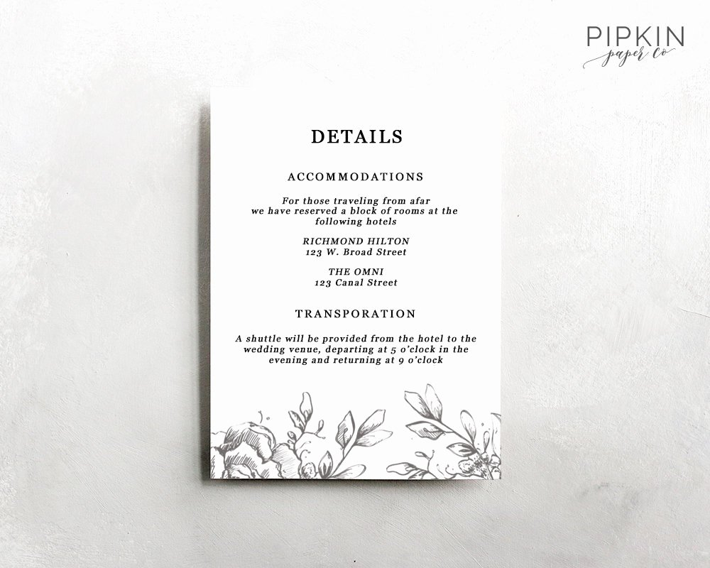 Wedding Information Card Template Luxury Wedding Details Template Information Card Template Wedding