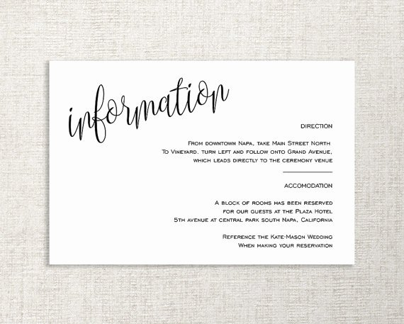 Wedding Information Card Template Unique Wedding Enclosure Card Details Card Information Card