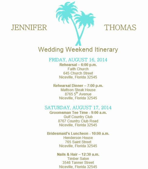 Wedding Itinerary Template Free Awesome Wedding Itinerary Template