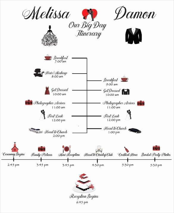 Wedding Itinerary Template Free Awesome Wedding Schedule Template