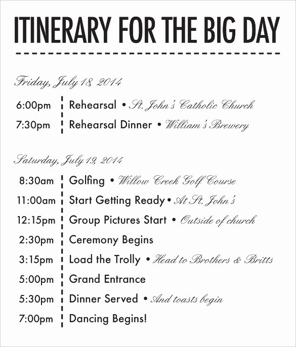 Wedding Itinerary Template Free Best Of 26 Wedding Itinerary Templates – Free Sample Example
