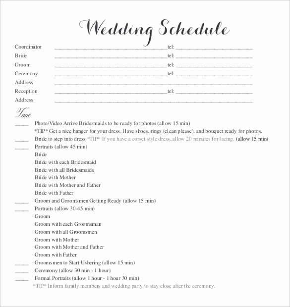 Wedding Itinerary Template Free Best Of 28 Wedding Schedule Templates & Samples Doc Pdf Psd