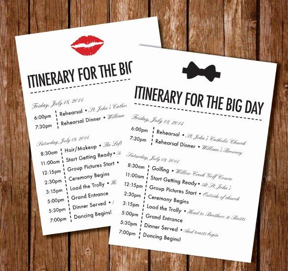 Wedding Itinerary Template Free Elegant 44 Wedding Itinerary Templates Doc Pdf Psd