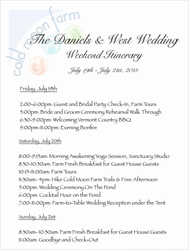 Wedding Itinerary Template Free Fresh Wedding Weekend Itinerary Template