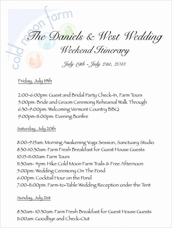 Wedding Itinerary Template Free Fresh Wedding Weekend Itinerary Template