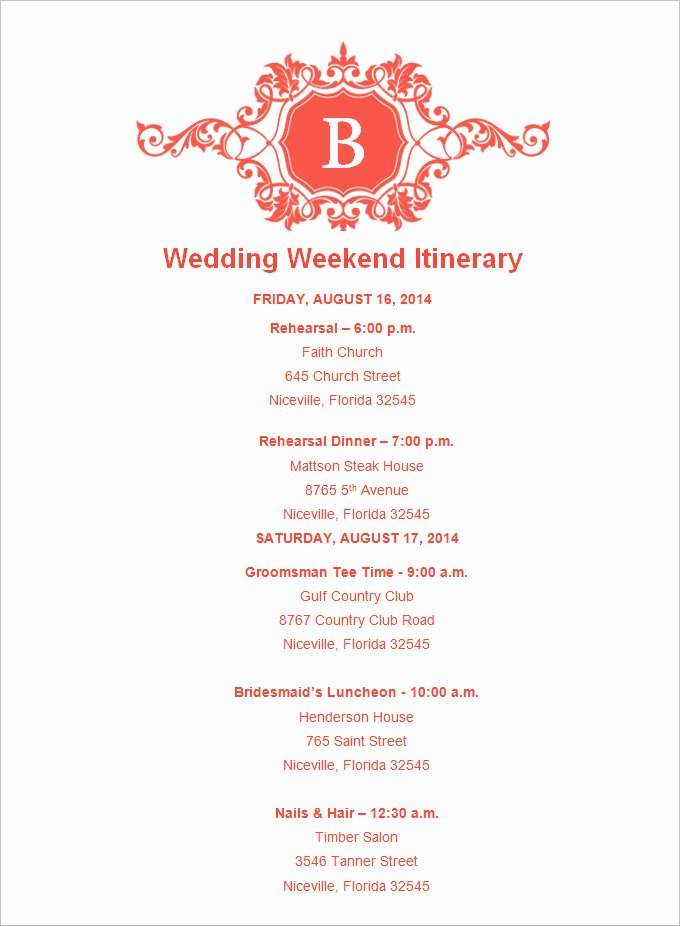 Wedding Itinerary Template Free Lovely 4 Sample Wedding Weekend Itinerary Templates Doc Pdf