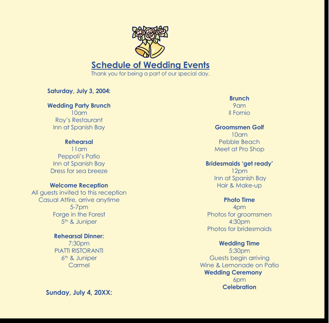 Wedding Itinerary Template Free Lovely 8 Free Wedding Itinerary Templates and Schedule Templates