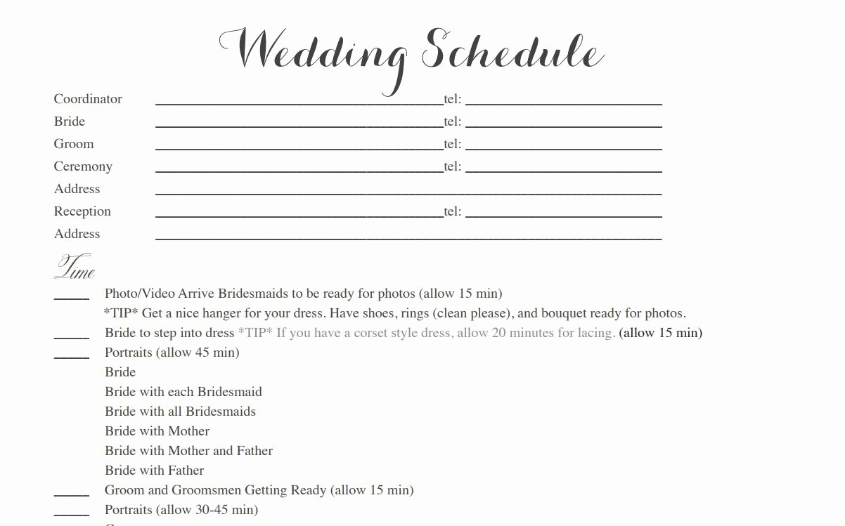Wedding Itinerary Template Free Lovely Free Wedding Itinerary Templates and Timelines