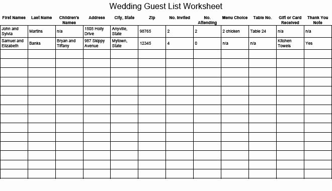 Wedding List Excel Template Beautiful 17 Wedding Guest List Templates Excel Pdf formats