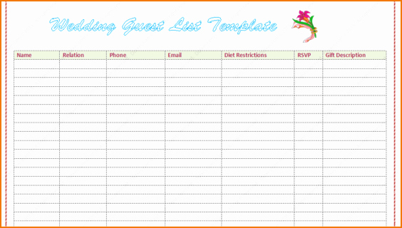 Wedding List Excel Template Elegant 5 Wedding Guest List Template Excel
