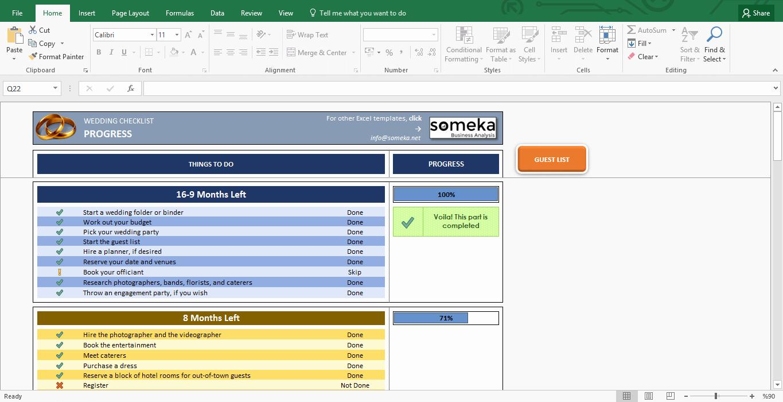 Wedding List Excel Template Fresh Wedding Checklist Excel Template for Wedding Planning