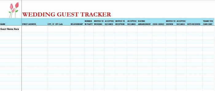 Wedding List Excel Template Lovely Wedding Guest List Spreadsheet