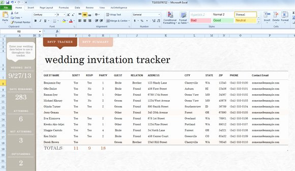 Wedding List Excel Template Lovely Wedding Invite List Template for Excel 2013