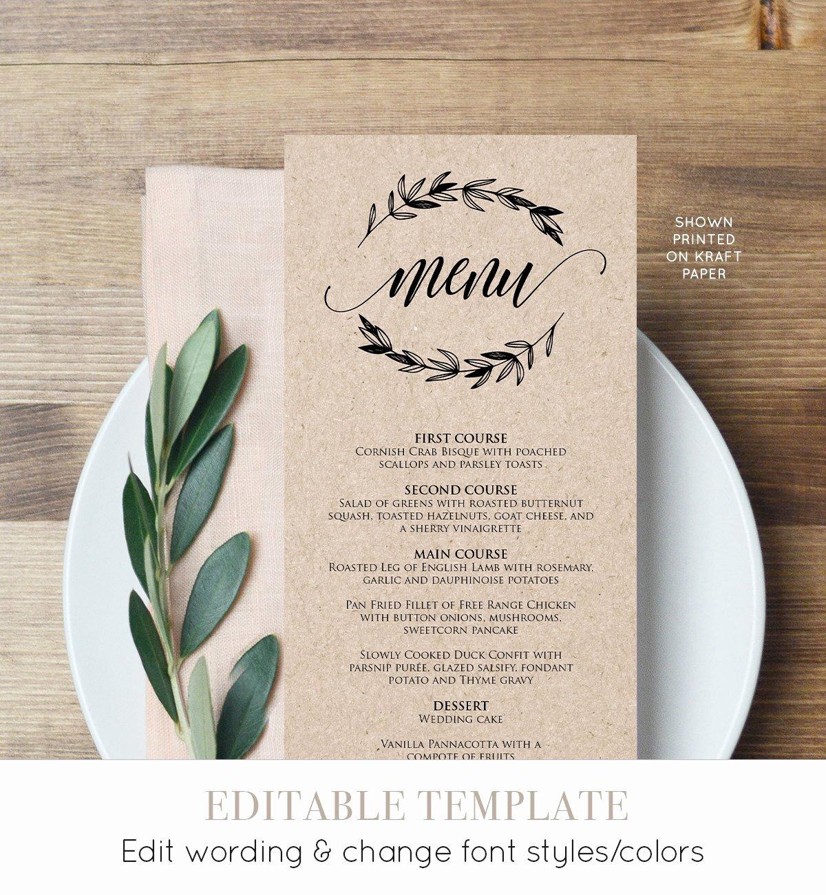 Wedding Menu Card Template Beautiful Rustic Wedding Menu Template Printable Menu Card