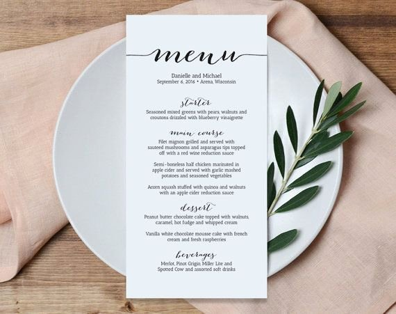 Wedding Menu Card Template Beautiful Wedding Menu Printable Template Printable Menu Menu