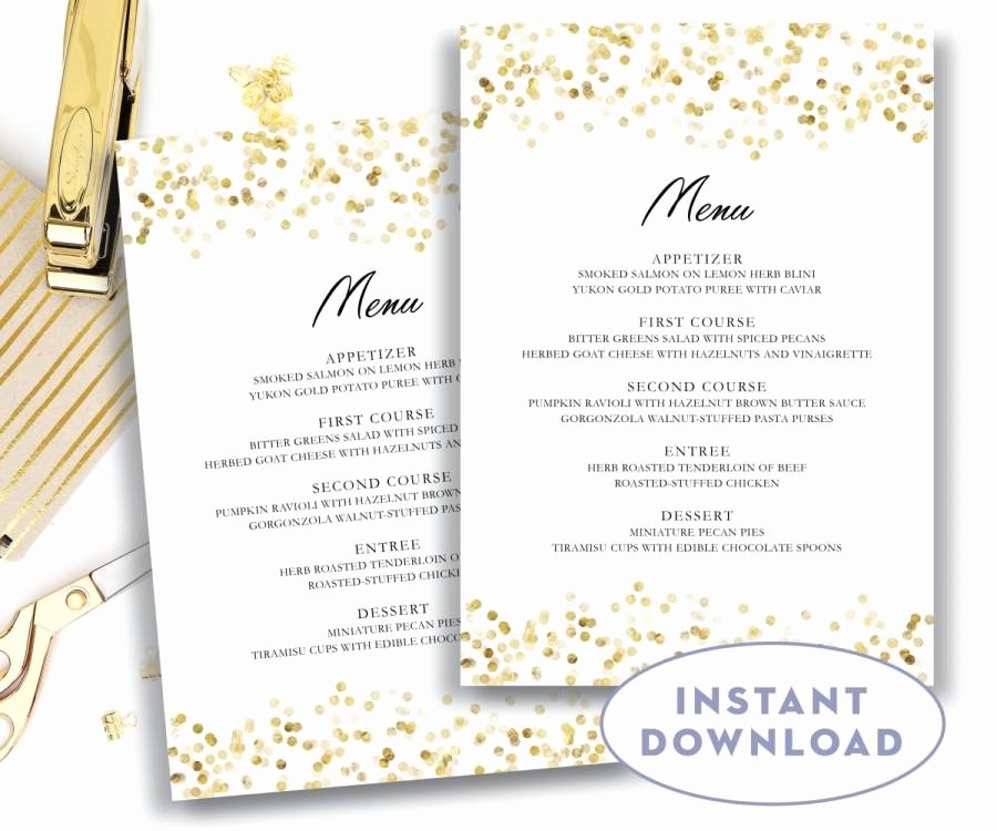 Wedding Menu Card Template Elegant Gold Wedding Menu Template 5x7 Editable Text Microsoft