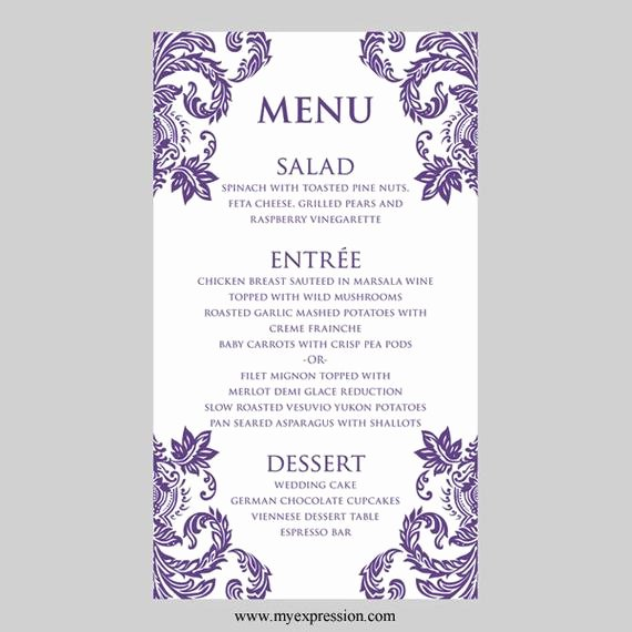 Wedding Menu Card Template Elegant Wedding Menu Card Template Purple Damask Instant Download