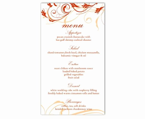 Wedding Menu Card Template Elegant Wedding Menu Template Diy Menu Card Template Editable Text