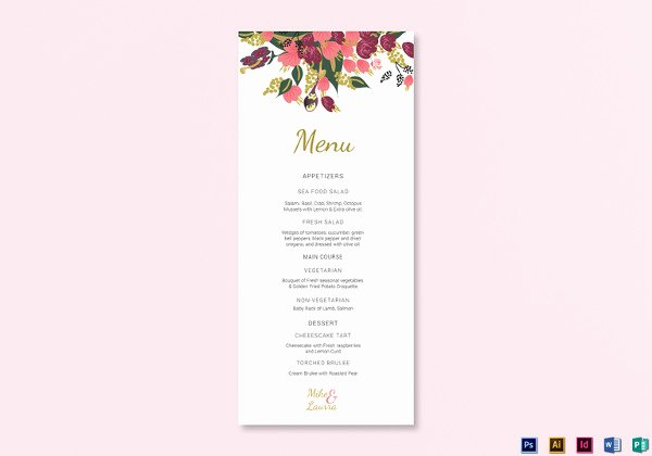 Wedding Menu Card Template Elegant Wedding Menu Templates 52 Free Word Pdf Psd Eps