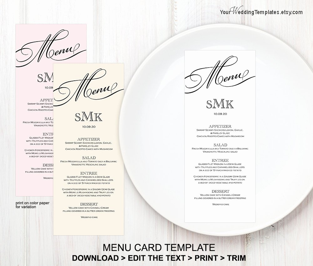 Wedding Menu Card Template Fresh Printable Wedding Menu Templatemenu Card Template Instant