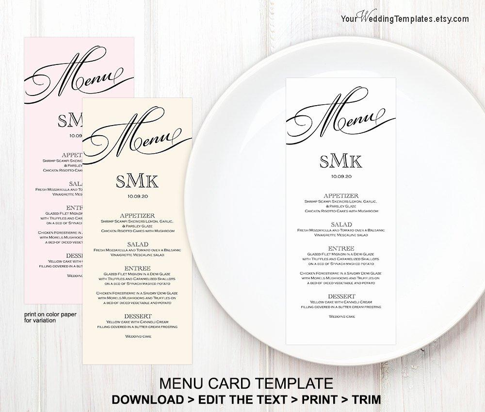 Wedding Menu Card Template Fresh Printable Wedding Menu Templatemenu Card Template Instant