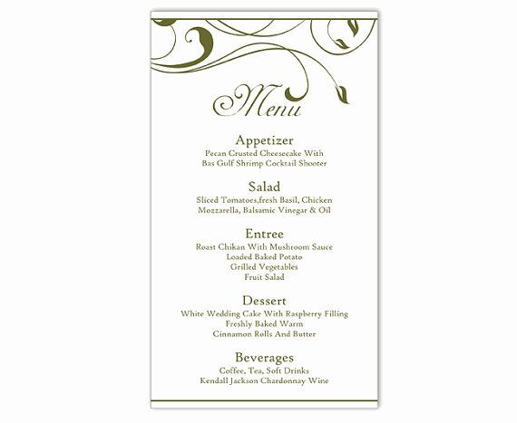 Wedding Menu Card Template Fresh Wedding Menu Template Diy Menu Card Template Editable Text