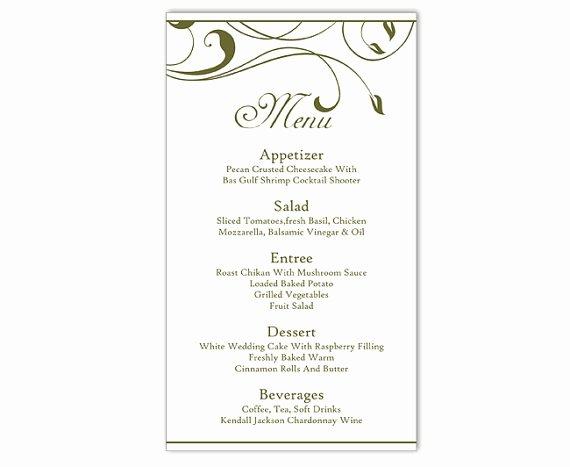 Wedding Menu Card Template Fresh Wedding Menu Template Diy Menu Card Template Editable Text