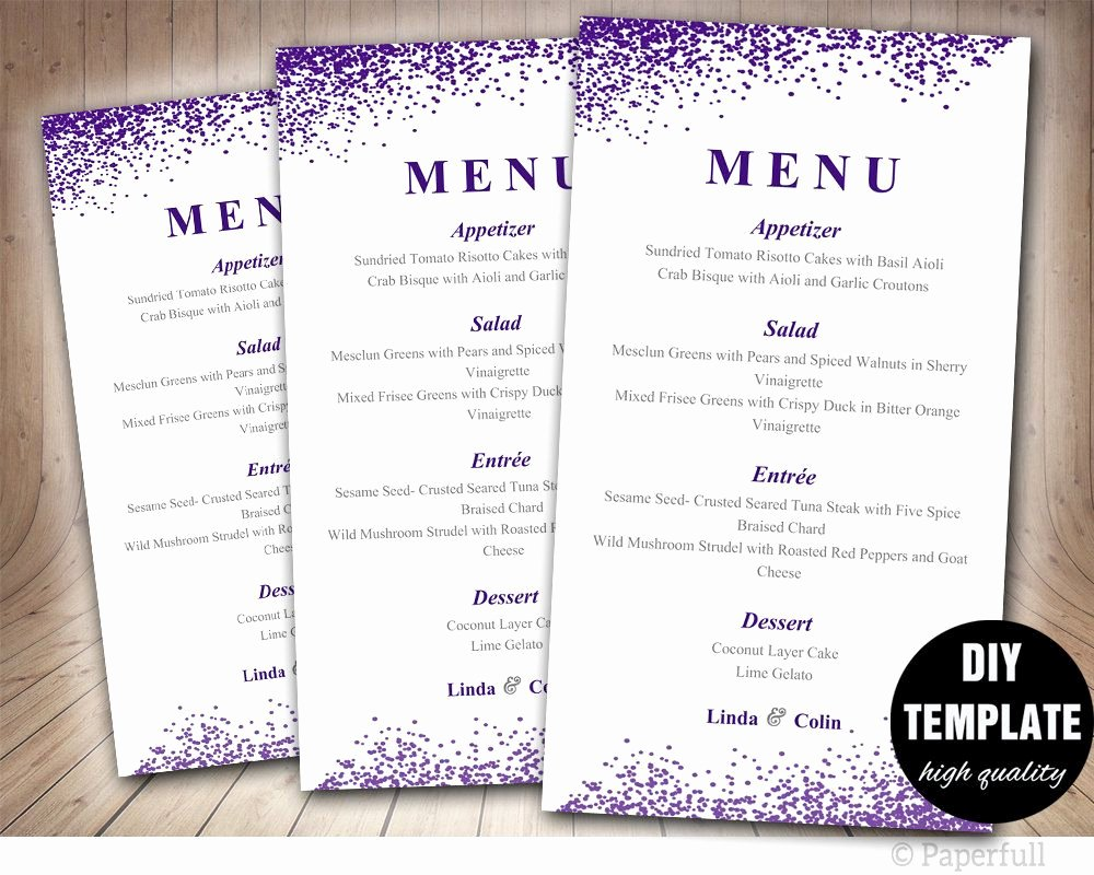 Wedding Menu Card Template Inspirational Wedding Menu Card Template Diy Wedding Menu Template