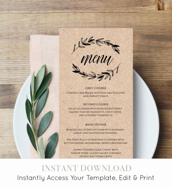 Wedding Menu Card Template Lovely Rustic Wedding Menu Template Printable Menu Card Editable